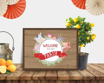 Printable Farmyard Fun Party Welcome Sign