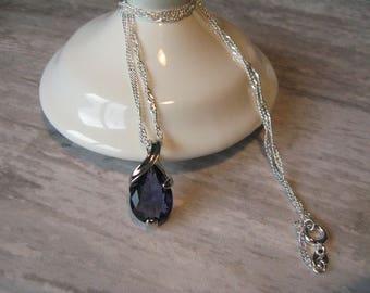 AMETHYST CRYSTAL NECKLACE Sterling Silver Chain | Womens Girls Elegant Purple Pendant Bridesmaid Bridal Wedding Jewelry Jewellery Gift