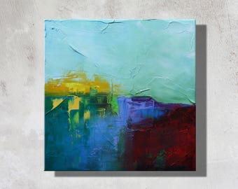Abstract painting, original abstract art, green, red, yellow, blue, painting, oil on canvas 30 x 30 cm - 160504