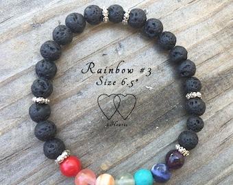 Design Rainbow #3, Rainbow Lava Bracelet, Diffuser Bracelet, Gemstone Bracelet