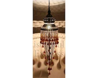 Turkish Chandelier Lamp - Tear Drop Glasses - Rainbow