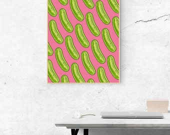 Pop Art Poster, Pickles Wall Art Print, Pop Art Pickles posters, foodie gifts, gifts for foodies, Dill Pickle poster, Pickle Pattern, Pink