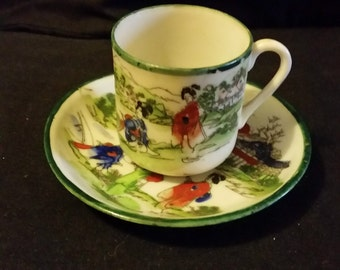 Japanese Egg Shell cup and saucer  very beautiful