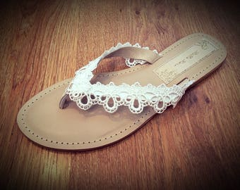 Ivory or White Pretty Lace Bridal Flip Flops Thongs