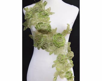 1PC x Long Olive Green/Gold Cords Flower Embroidery Neckline Lace Appliques Trims Collar Sewing DIY Crafts PBNC43A