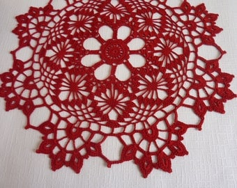 crochet doily,crochet doilies,red doily,red lace doily,red centerpiece,love,napkin,crochet tablecloth,beautiful doily,crochet table cloth