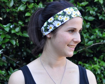 Daisy print headband, daisy print sweatband, exercise clothing, floral print head band, gift for her, running headband, yoga headband