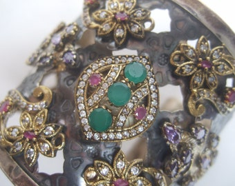 Massive Jeweled Semi Precious Huge Cuff Bracelet