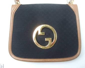 Gucci Black Canvas Blondie Shoulder Bag. 1970's.