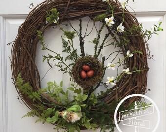 Summer Wreath, Greenery Wreath, Wreath Street Floral, Front Door Wreath, Grapevine Wreath, Bird Wreath, Spring Wreath