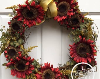 Everyday Wreath, Sunflower Wreath, Red Wreath, Summer Wreath, Front Door Wreath,Year Round Wreath, Wreath Street Floral