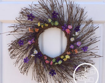 Twig Wreath, Purple Wreath, Wreath Street Floral, Year Round Wreath, Summer Wreath, Front Door Wreath, Everyday Wreath, Spring Wreath