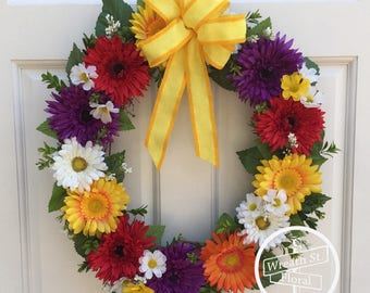 Daisy Wreath, Front Door Wreath, Summer Wreath, Wreath Street Floral, Grapevine Wreath, Everyday Wreath, Year Round Wreath, Yellow Wreath