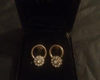 Vintage diamante circular clip on earrings