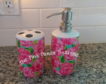 Hand painted Lilly Pulitzer bathroom toothbrush holder with soap dispenser, pink first impression