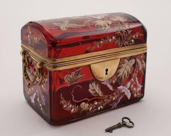 Victorian Bohemian Glass Jewellery Box, Circa 1880
