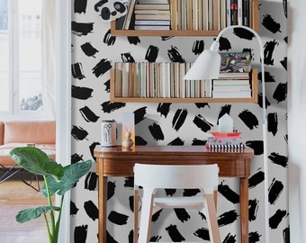 Black and white abstract wallpaper, Removable wall paper, Peel and stick decor wall mural, Custom color wall sticker   #47