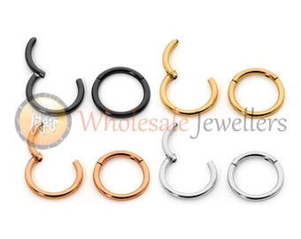 365 Sleeper Earrings Surgical Steel 6mm 8mm 10mm 12mm 13mm Hinged Continuous Hoops Made in Australia