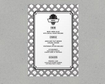 Art Deco Wedding Menu Personalised