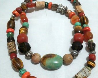 long gemstone and sterling bead turquoise and tiger eye necklace
