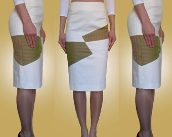 White, ivory, green, asymmetrical pencil skirt. Size UK 10 / US 6