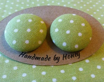 Lime Polka Dots/Fabric Button Covered Earrings/Nickel Free