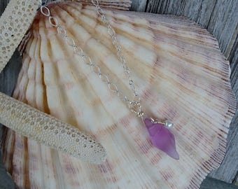 Purple Sea Glass Conch Necklace