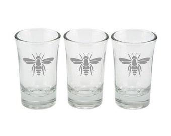 Bee Set of Three Etched Shot Glasses, Honey Bee, Bumble Bee