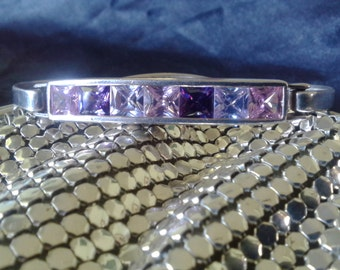 Vintage Sterling Silver 925 Cubic Zircon Crystal Bangle Bracelet in VGC Hallmarked Purple Pink Free Postage