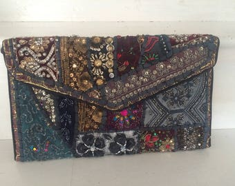 Gorgeous jewel encrusted evening clutch from Rajasthan. Large.