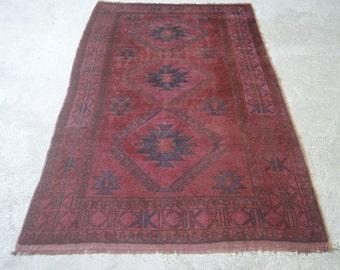 4'11''x8'4'' Magenta Purple Carpet, Turkish Vintage Rug, Pink Overdyed Carpet