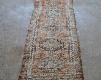 3x7 Boho Runner Rug, Antique Turkish Carpet, Oriental Vintage Rug