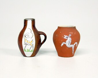 2 Vintage vases with deer and horse-Ravelli style