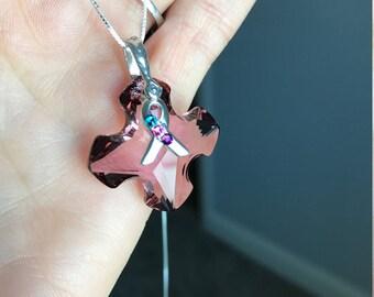 Thyroid Cancer Awareness 28mm Swarovski Cross Pendent