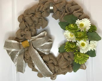 Burlap and Flower wreath with burlap and satin bow spring summer