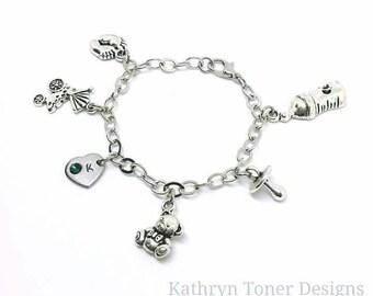 Baby charm bracelet- personalized baby jewelry- infant bracelet- baby keepsake- baby shower gift- baby bracelet- infant jewelry- baby gift