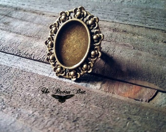 Cabochon Setting Ring Blank Oval Ring Blank Blank Ring Antiqued Bronze Ring Blank Frame Ring Oval Frame Ring Blank Setting Ring Blank