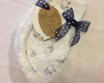 Gauze burp cloths,  flannel and hand crocheted, chenille, sheep, handmade