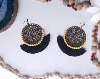 Ethnic earrings, dangle earrings filigree earrings black tassels, shells