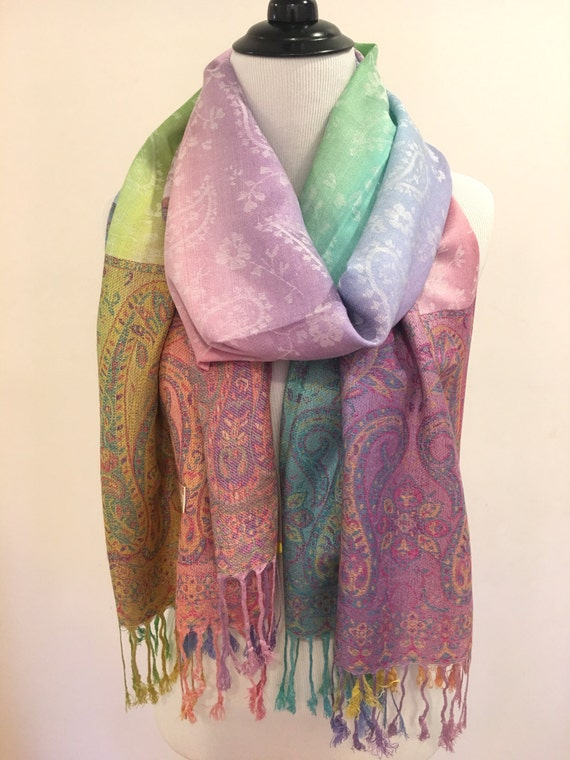 Pashmina Scarf Rainbow Scarf Pashmina Shawl Gift For Her