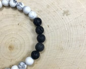 Essential Oil Diffuser Bracelet | Natural Stone | White Howlite | Lava Rock Jewelry | Healing Bracelet | Gift for Her | Zen Gift | Stretch