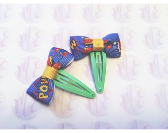 "Superhero ""pow!"" Hair bows headband, hairband, hair clip, girls, ladies, bows"