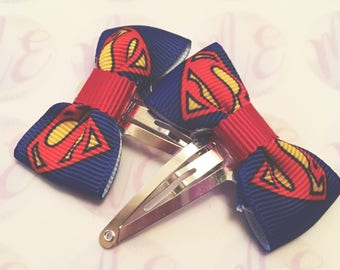 Superman superhero hair bows headband hairband snap clips baby girls ladies