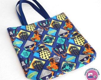 Doctor Who Themed Reusable Tote with Tardis Daleks Cybermen Exterminate Delete
