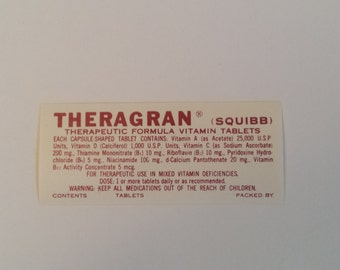 Antique Pharmacy Label, Theragran Apothecary Label, Theragran Squibb Vitamin Label, Vintage Pharmacy Label for Bottles