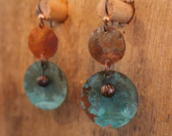 Round Copper earrings with green patina