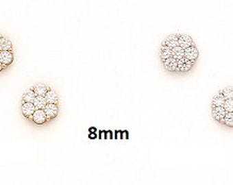 14K Pure Solid White/Yellow Gold Fancy Post Round  Flower Shaped Earrings Set With Cubic Zirconia Push-Back Beautiful Stud Earrings