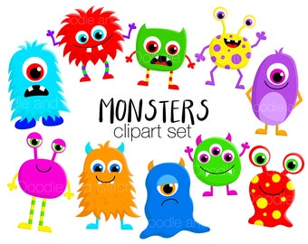 Monster Clipart Set, Cute Monsters Clip Art Designs, Fun Halloween Illustrations, Cute Clipart Pictures