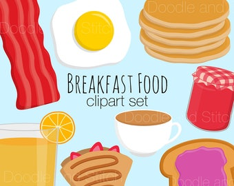 Breakfast Clipart, Food Clip Art Pictures, Bacon Egg Illustrations, Pancake Vector Drawing, Digital Stickers