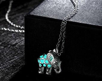 Phosphorescent Elephant pendant
